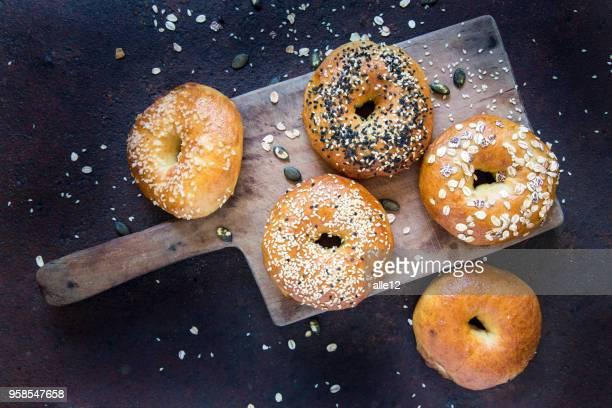 Bagels on Cutting Board