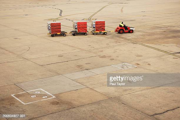 Baggage carts at airport, elevated view