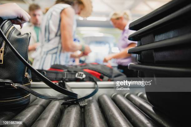 baggage check at the airport - security stock pictures, royalty-free photos & images