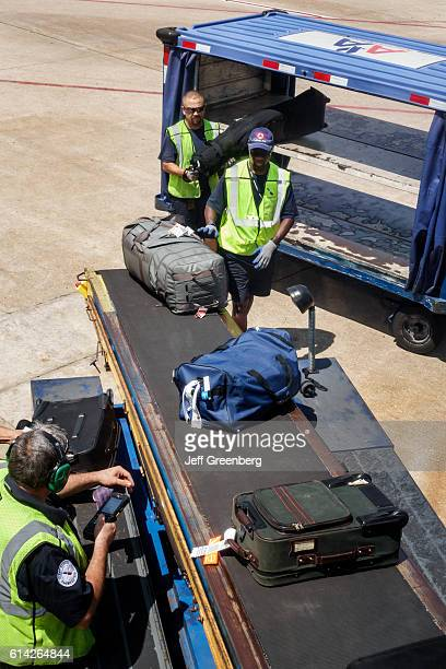 Baggage handlers at Fort Worth International Airport