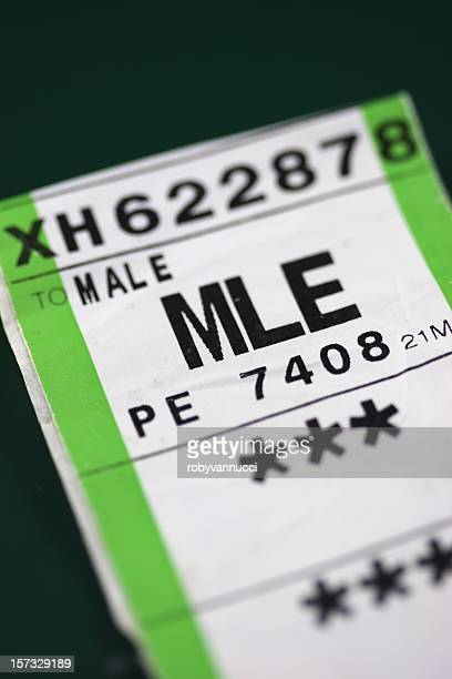 Baggage label for a flight to Male