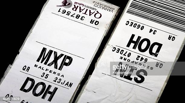 Etichette bagagli per i voli in partenza per Doha, Qatar