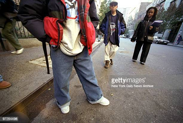 Baggy jeans worn by Angel Bajana are in style outside the High School of Fashions Industries