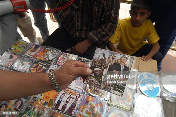 Baghdad, Iraq, 15th May 2003: A DVD of a film made of Saddam Hussein the Iraqi dictator is sold in the market place, after the invasion of US forces...