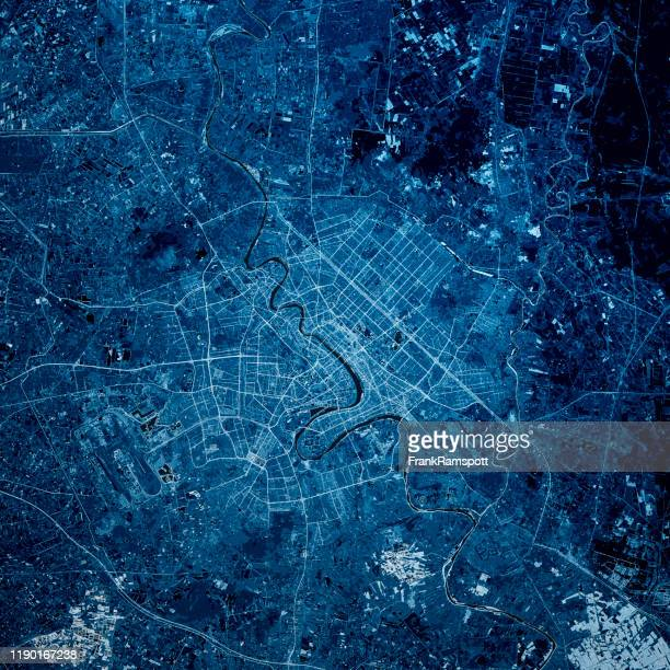 baghdad iraq 3d render map blue top view jun 2019 - frank ramspott stock pictures, royalty-free photos & images