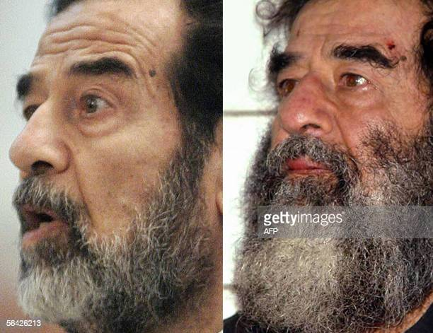 A combo shows former Iraqi President Saddam Hussein during his trial in Baghdad's heavily fortified Green Zone 06 December 2005 and after his capture...