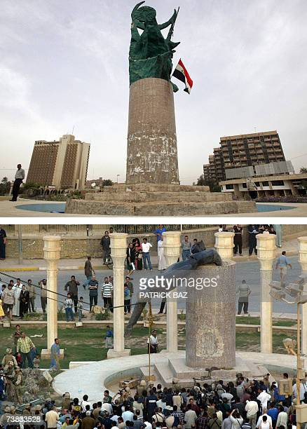 A picture combo shows an Iraqi man looking at the freedom statue 07 April 2007 and Iraqis looking at the statue of executed Iraqi leader Saddam...
