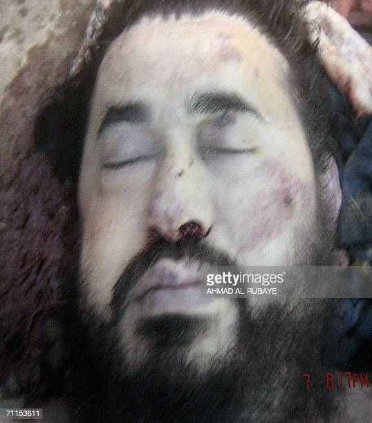 A reproduction of an image made avilable by the US Army 08 June 2006 during a US military briefing in Baghdad of slain AlQaeda chief in Iraq Abu...