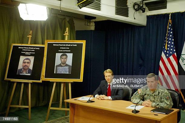 Ambassador Daniel Speckhard US Embassy Baghdad Charge d'Affaires and Brigadier General Kevin Bergner US military spokesman speak during a joint press...