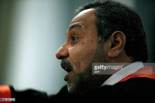 Chief prosecutor Jafar alMusawi addresses the court during the first day of the Anfal trial in Baghdad's heavily fortified Green Zone 21 August 2006...