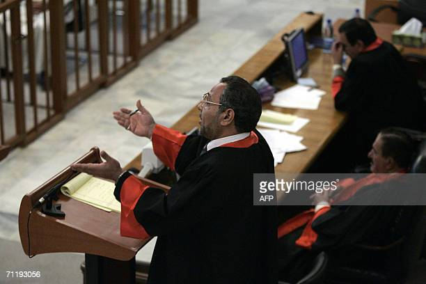 Chief Prosecutor Jafar alMusawi cross examin a defence witness during the trial of ousted Iraqi dictator Saddam Hussein in Baghdad 16 May 2006 The...