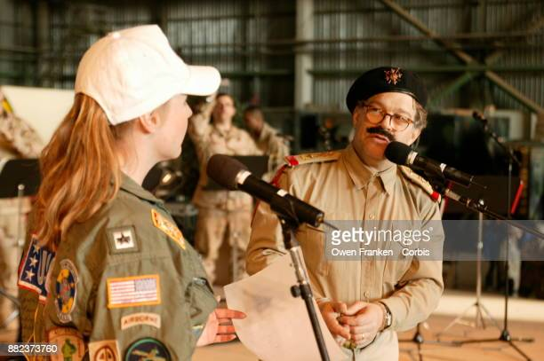 Al Franken performs as Saddam Hussein with Karri Turner at USO show in Baghdad