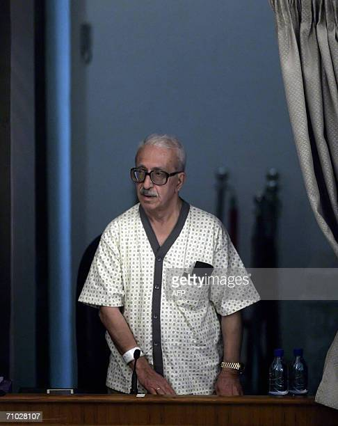 Former Iraqi deputy prime minister Tarek Aziz testifies for the defence during Saddam's trial held in Baghdad's heavily fortified Green Zone, 24 May...