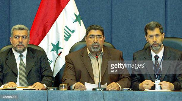 Head of AlSadr parliamentary bloc Nassar AlRubaie speaks during a press conference in Baghdad 16 April 2007 Radical cleric Moqtada alSadr pulled his...