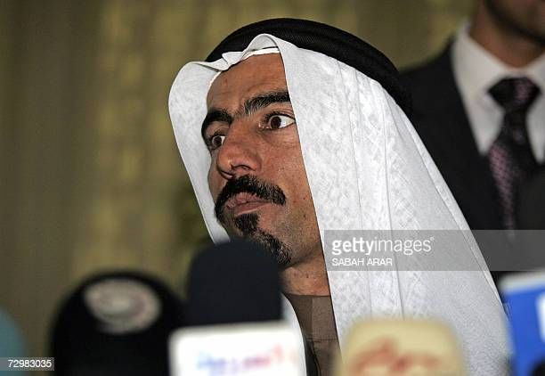 Head of the al-Anbar province awakening conference Sheikh Abdel Sattar Abu Risha listens to a question during a press conference in Baghdad 18...
