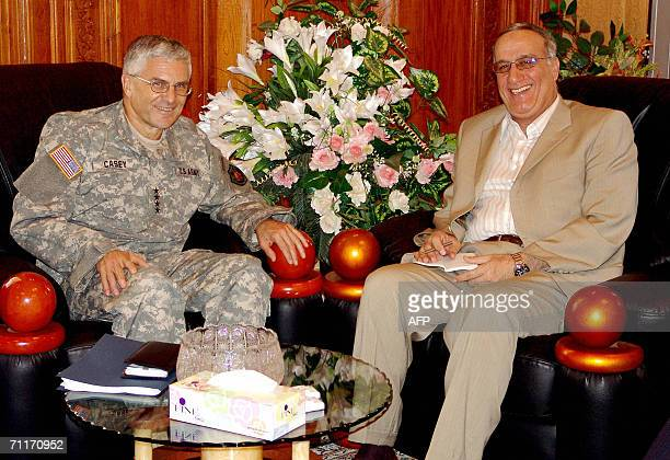 Iraqi Defence Minister Abdel Qader Jassem alObeidi meets General George Casey chief of the MultiNational Force in Iraq at the Iraqi defence ministry...