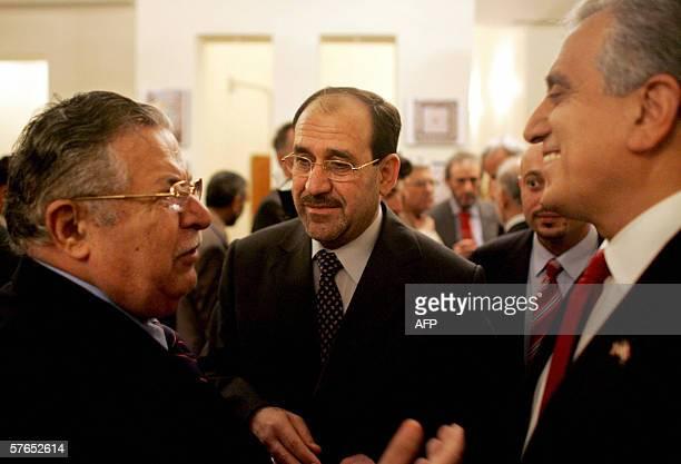 Iraqi President Jalal Talabani , Iraqi Prime Minister-designate Nouri al-Maliki talk with U.S ambassador to Iraq Zalmay Khalilzad at his residence in...