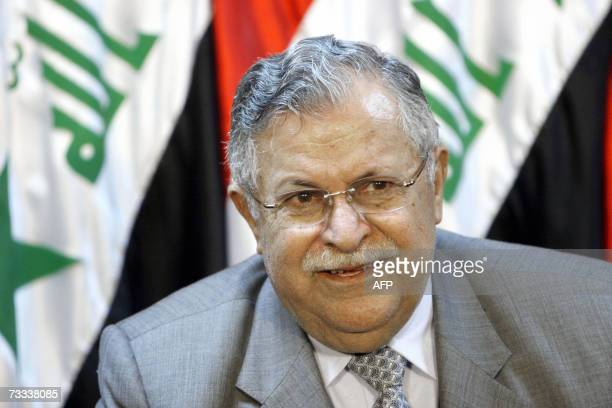 Iraqi President Jalal Talabani speaks during press conference following a meeting with Iraqi Prime Minister Nuri alMaliki in Baghdad 15 February 2007...