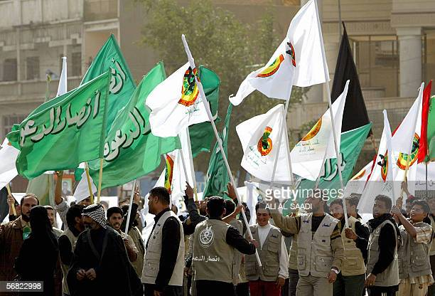 Iraqi Shiite protesters from alDawa party take part in a demonstration 11 February 2006 in central Baghdad over the publication of the Prophet...