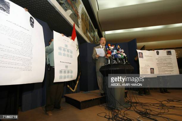 Iraq's national security advisor Muwaffaq alRubaie speaks during a press conference in Baghdad 18 July 2006 Four operatives of AlQaeda in Iraq...