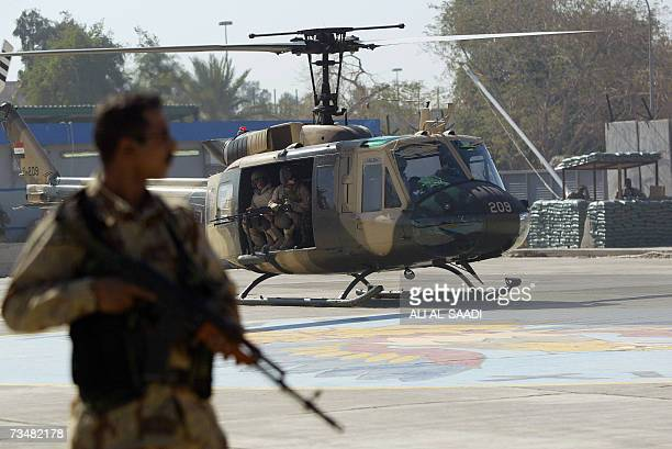 One of the first Iraqi airforce UH1H Huey helicopter lands in the heavily fortified green zone in Baghdad 03 March 2007 Sixteen helicopters were...