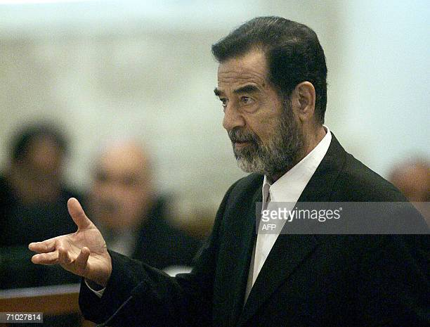 Ousted Iraqi dictator Saddam Hussein testifies during his trial held in Baghdad's heavily fortified Green Zone, 24 May 2006 The trial of deposed...