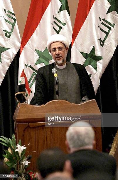 The first deputy speaker of the Iraqi parliament Khaled AlAttiya speaks during a parliament session held under tight security in Baghdad's heavily...