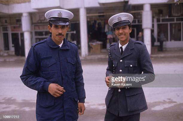 Two traffic policemen in the center of Baghdad during the Gulf War February 1991