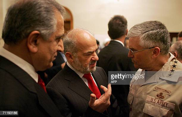 Ambassador to Iraq Zalmay Khalilzad , Iraqi outgoing Prime Minister Ibrahim al-Jaafari and U.S army General George W. Casey, Commander of...