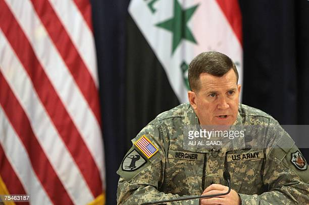 US Military Spokesman General Kevin Bergner listens to a journalist's question during a press conference in Baghdad 18 July 2007 US forces have...