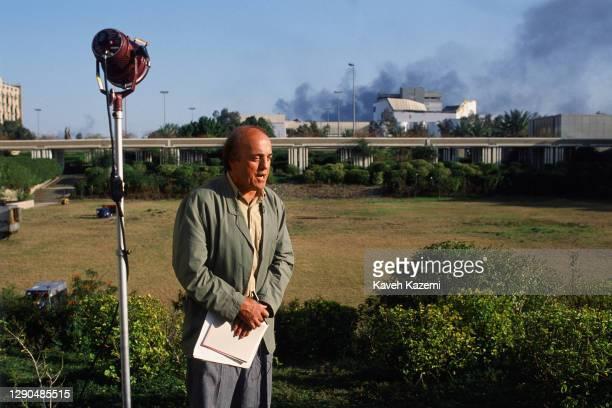 Veteran American journalist Peter Arnett during a live feed for CNN network from hotel Al Rashhed during the Gulf War, 21st February 1991. Arnett...