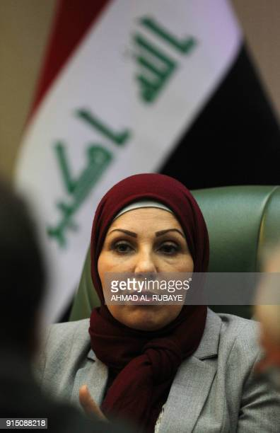 Baghdad Mayor Thikra Alwash 60yearold civil engineer and only woman mayor of a Middle East capital speaks during an interview with AFP in the Iraqi...