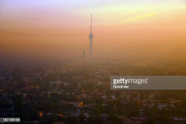 Baghdad sunrise skyline covered in smog