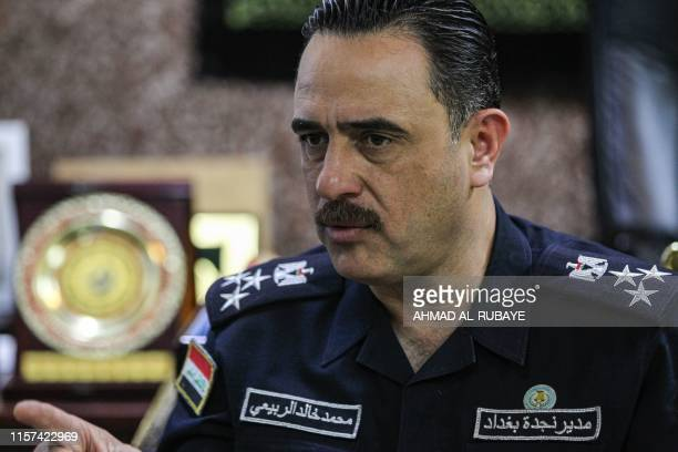Baghdad's former head of first responders Mohammed Khaled alRubaye speaks during a briefing with journalists at his former office in the Iraqi...