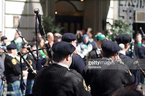 bagpipe from behind - st patricks day stock pictures, royalty-free photos & images