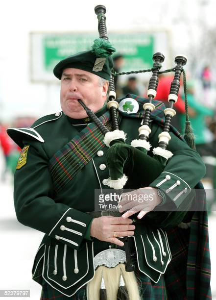 A bagpipe member of the Shannon Rovers Pipe Band is seen in the St Patrick's Day parade March 12 2005 in Chicago Illinois Chicago is celebrating St...