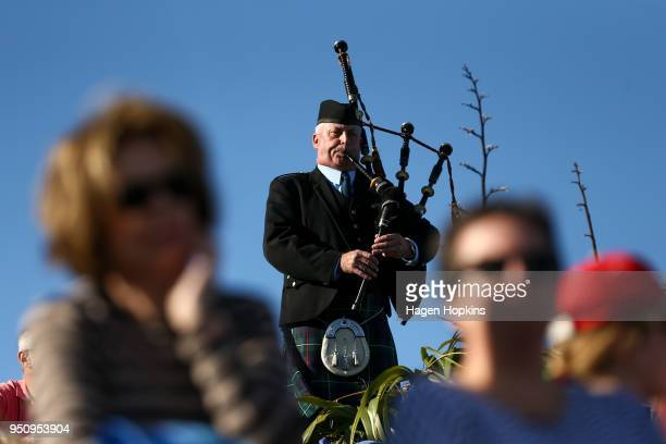 A bagpipe player during the Ataturk Memorial Service at Ataturk Memorial on April 25 2018 in Wellington New Zealand In 1916 the first Anzac Day...