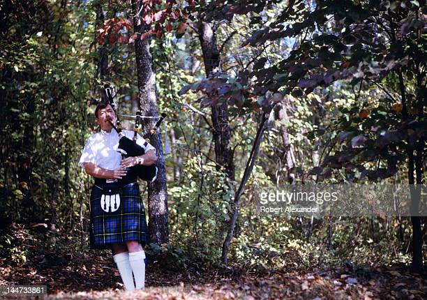 A bagpipe player performs at the annual Tennessee Fall Homecoming at the Museum of Appalachia in Norris Tennessee The Tennessee folk festival...