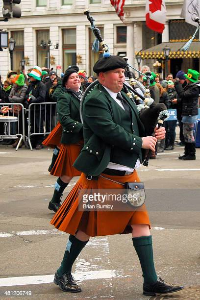 Bagpiper at St Patrick's Day parade in New York City