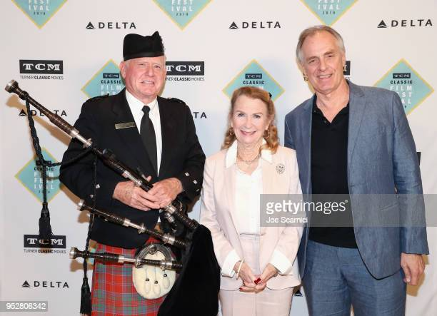 Bagpiper Juliet Mills and Keith Carradine attend day 4 of the 2018 TCM Classic Film Festival on April 29 2018 in Hollywood California 350482