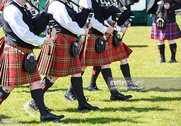 Bagpipers at a pipe band contest in Scotland