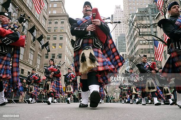 Bagpipers march during the St Patrick's Day parade in New York on March 17 2015 AFP PHOTO/JEWEL SAMAD