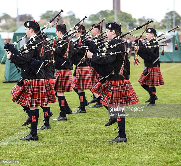 Bagpipers marching East Lothian Scotland