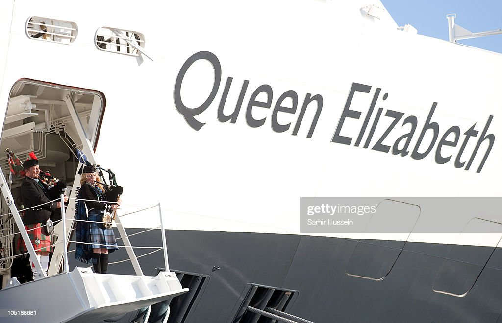 Bagpipers play during the ceremony to name Cunard's new cruise-liner Queen Elizabeth II in Southampton Docks on October 11, 2010 in Southampton, England.