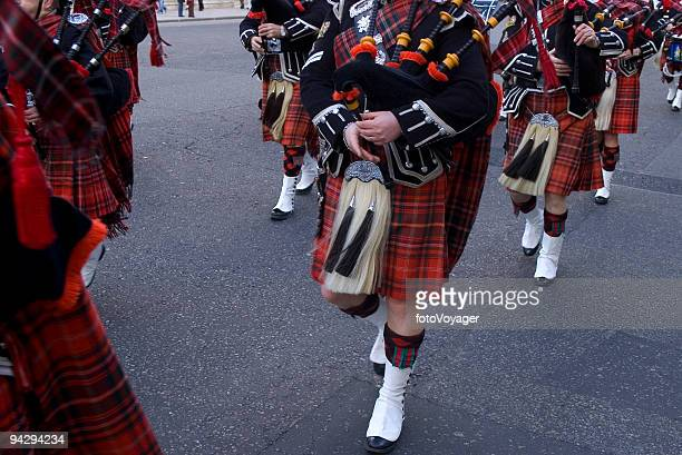 bagpipes and kilts - kilt stock photos and pictures