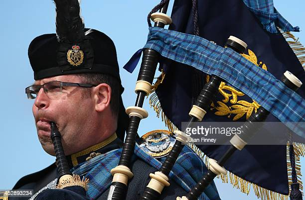 Bagpipes are played at Barry Buddon Shooting Centre during day six of the Glasgow 2014 Commonwealth Games on July 29 2014 in Carnoustie United Kingdom