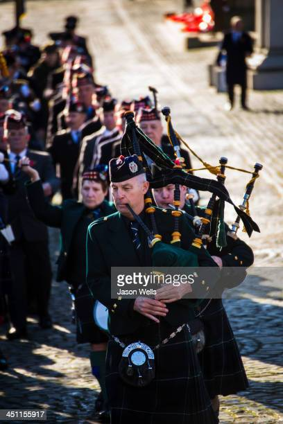 Bagpipes being played by military personnel at the Service of Remembrance at The Cenotaph, St George's Hall, Liverpool .