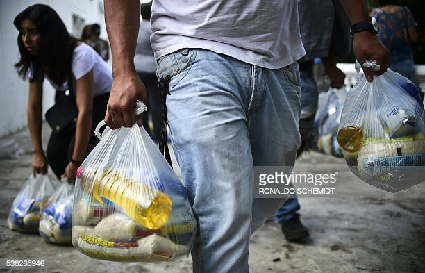 Bags of basic foodstuffs are pictured in one of the food distribution centers called CLAP which are headed by community leaders in the poor...