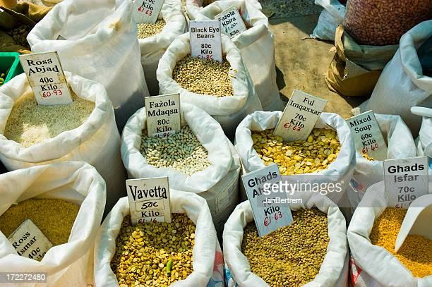 バッグの豆、米、ます。