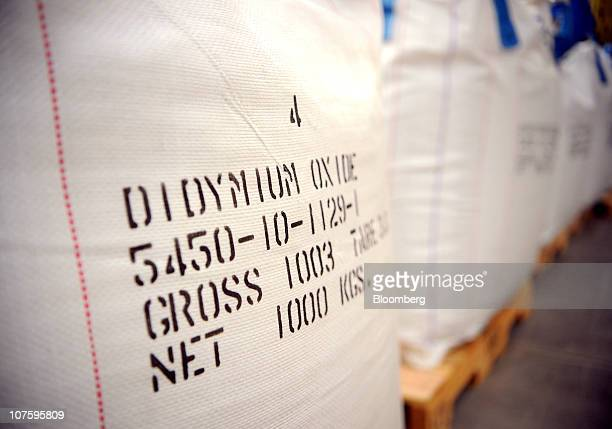 Bags of didymium oxide sit at Molycorp Inc's rare earths mining and processing facility in Mountain Pass California US on Monday Dec 13 2010 Molycorp...